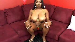 Busty Black Babe Loves Pussy!