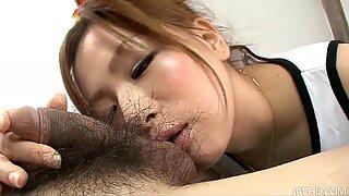 Ugly slut Yukina Momose works her lips and tongue when sucking dick hard