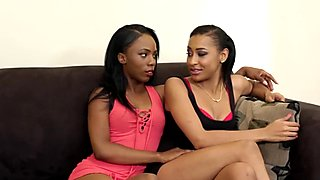 Ebony lesbos using dildo and tongues for pleasure