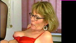 Mature Secretary Pleases in Red Satin &amp_ Stockings