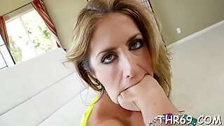 Beautys face is filled with males sticky glazed