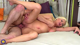Home sex with granny and lucky boy