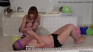 Japanese Female Domination Blindfold Slave and Start Training Them