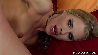 Sexy blonde fucks herself with silver dildo