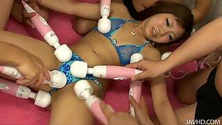 Mad toy play during a wild gang bang with a special horny chick Mahiru Tsubaki