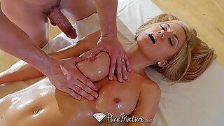 Shiny breast massage for hot blonde MILF