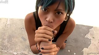 Alternative asian chick love taking risk and fuck in public