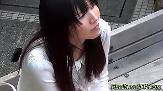 Asian skank pees panties