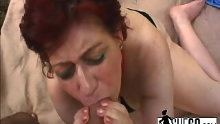 Ugly Short Hair Grandma With Big Saggy Tits And Hairy Pussy Sucking And Fucking Outdoors