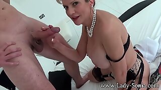 Big jugged milf female Sonia providing handjob and blowjob to a stranger