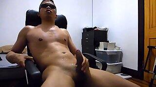 Asian Hispanic Man Jerking Off Masturbating