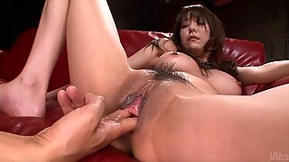 Japanese wench delights fellow with cock saddling