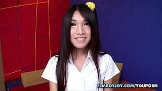 Young Asian schoolgirl with a cock