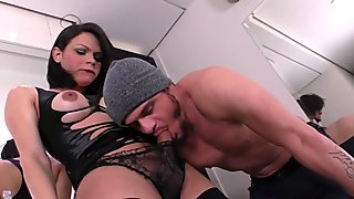 Busty lingeried tranny throats guy ballsdeep