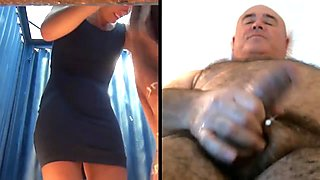 Yummy woman retires pad into a beach cabin, man wanks