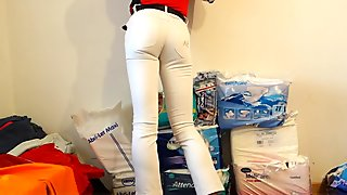 crossdresser in tight white girlie jeans sexy ass