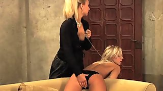 Enslaved Girl In Black Panties Moans As Mistress Fingers Her