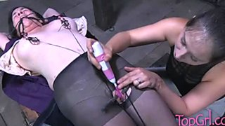 Gross clit of fat slut stimulated in dirty BDSM sex movie