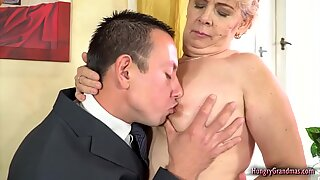 Blonde granny enjoys hardcore sex