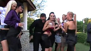 Tipsy horny nymphos switch from dancing to eating pussies on the lawn