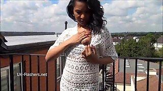Ebony babe Mels teasing public flashing and outdoor masturbation of black amateu