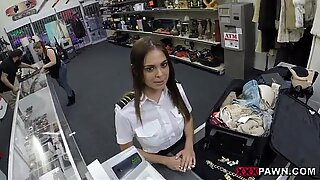 Sexy amateur stewardess fucked for money