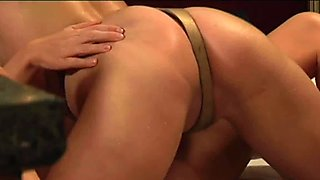 Lesbian Slave Pleasuring Her Friend With Strapon