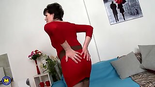 Mature mother in red fucks young lucky boy