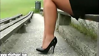 Stiletto babe Karen with shoe fetish teasing in high heels