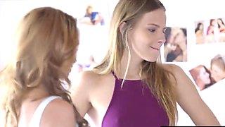 Bianca Breeze and hot young Sara sucking big cock