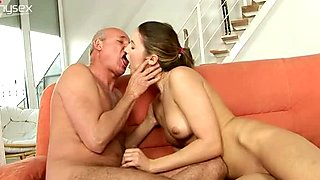 Mesmerizing brunette babe is sucking hard dong of old man