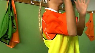 Sporty teens play kinky lesbian sex games in a changing room