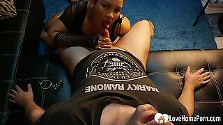 Sensational stepsister sucks dick while on her knees