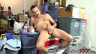 Daddy in solo action with his sex toys