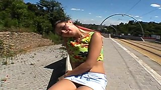 Darling is giving boyfriend a blowjob outdoor