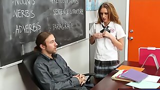 Schoolgirl Maci Winslett pounded and facialed by her teacher