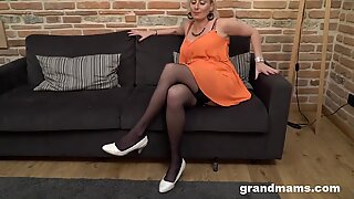 Kinky Granny Punishes Mature Babe with a Strap-On