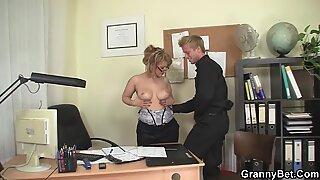 Office mature in white stockings seduces him