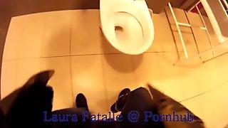 Step sister got2pee pissing in public toilet - Laura Fatalle