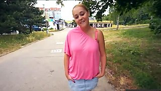 Amateur blonde Czech girl Paris Sweet fucked in public