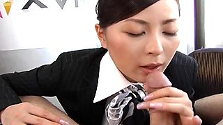 Salty air hostess Reo Matsuzaka gives a zealous mouth fuck to mini weenie