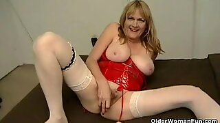 Sleazy granny with hanging big tits and hairy pussy