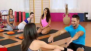 Two slim brunettes fucking their coach in the gym