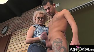 Granny Elvira sucks Johns boner like a pro