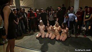 Four slaves in public anal gangbang