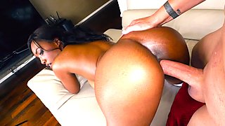 Big juicy tits ebony banged by white rod