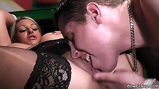 Guy licks and pounds her fat hole