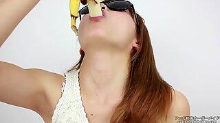 Licking Fetish  Women lick erotic bananas Pseudo blowjob