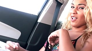 Hitch hiking exotic teen shows her tits