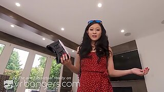 VR BANGERS, Asian GF Caught You Watching Porn And Jerking